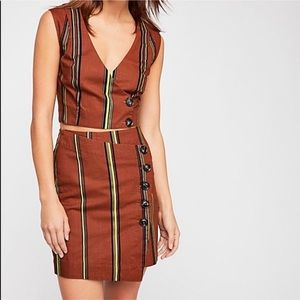 NWOT Brown Stripe Skirt & Vest Matching Separates
